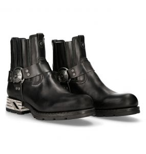 Black Leather New Rock Motorock Ankle Boots