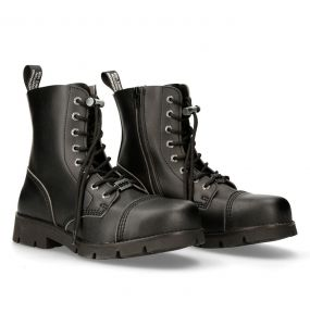 Black Vegan Leather New Rock Ankle Boots