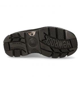 Black Leather New Rock Metallic Boots