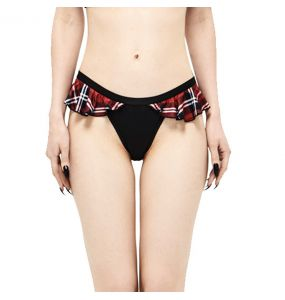 Bas de Bikini 'Scotish' Noir et Tartan Rouge
