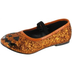Orange Glitter 'Halloween' Children Ballerinas