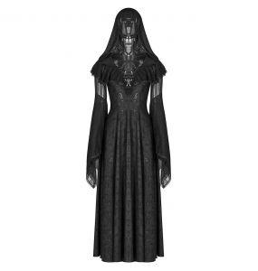 Longue Robe Gothique à Capuche 'Ladouceur' Noire