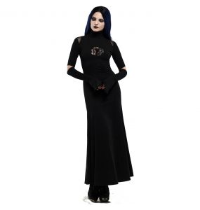 Longue Robe Gothique 'Red-Eyed Spider' Noire