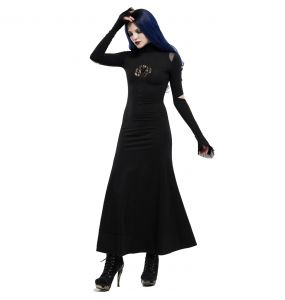 Black 'Red-Eyed Spider' Gothic Long Dress