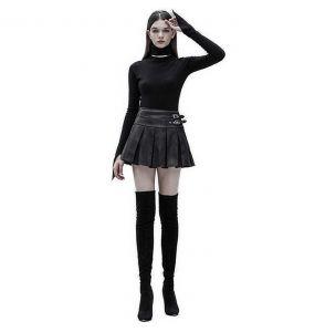 Black Vegan Leather 'Xena' Mini Skirt