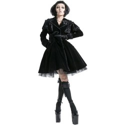 Black Velvet Knee Length 'Lorelei' Summer Coat