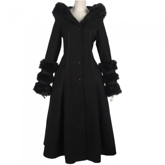 Black 'Frozen Night' Hooded Winter Coat