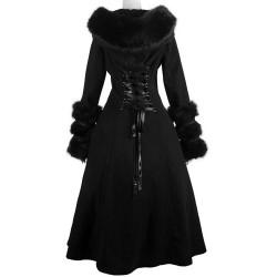 Manteau Réversible Noir à Capuche 'Frozen Night'