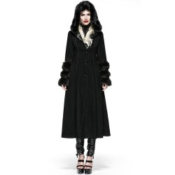Gothic Hooded Winter 'Frozen Night' Black Coat