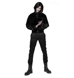 Pantalon 'Romantic Goth' Noir avec Ceinture en Velours