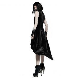Robe Asymétrique 'Bara' en Velours Noir