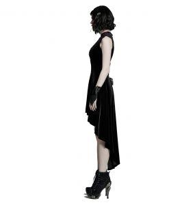 Black Velvet Asymmetric 'Bara' Dress