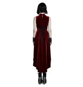 Red Velvet Asymmetric 'Bara' Dress
