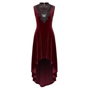 Robe asymétrique 'Bara' en Velours Rouge