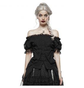 Haut Gothic Lolita 'Fleur De Lys' Noir à Manches Courtes