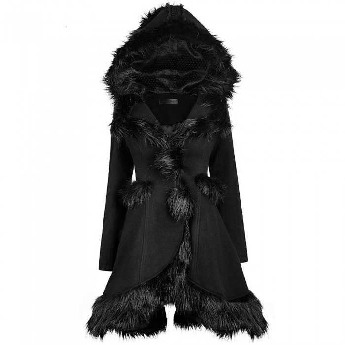 Black Gothic Lolita 'Kitsune' Hooded Coat