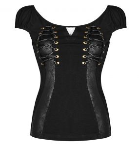 Black 'Vespa' Gothic Top with Short Sleeves