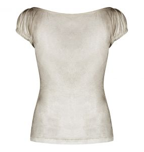 Beige and Brown 'Vespa' Steampunk Top with Short Sleeves