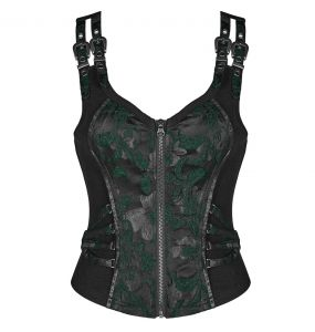 Black and Green Jacquart and Brocade 'Poison Ivy' Corset