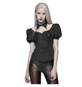 Women Gothic Blood 'Vampire Girl' Blouse with Removable Collar