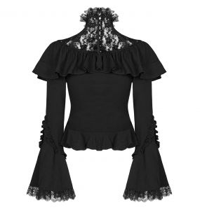 Black 'Syren Song' Lace Top with Flared Sleeves