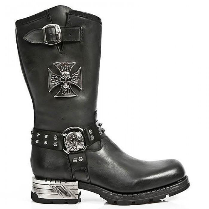 Black Itali and Antik Leather New Rock Motorock Boots with Malta Cross and Skulls