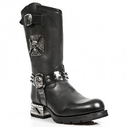 Black Itali and Antik Leather New Rock Motorock Boots with Malta Cross and Skulls