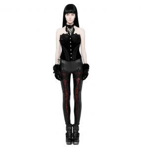 Leggings 'Soiree Gothic' Noir et Rouge