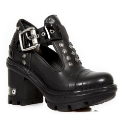 Black Leather New Rock Neotyre Shoes