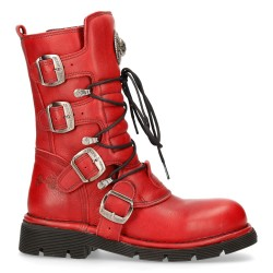 Bottes New Rock Comfort Light en Cuir Rouge
