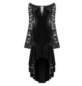 Longue Robe Gothique 'Nemesea' en Velours Noir