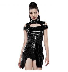 Mini Robe 'Techno Geisha' en Simili Cuir Noir Verni