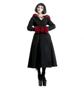 Black and Red 'Strawberry' Hooded Winter Coat
