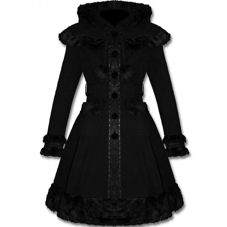 Black Gothic Lolita 'Dolly' Hooded Coat