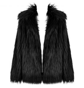 Black 'Wolverine' Faux Fur Jacket