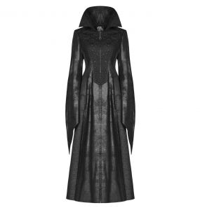 Black 'Dragonfly' Victorian Gothic Long Coat