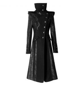 Veste Longue Noire 'Black Dragon' avec Capuche Pointue Amovible