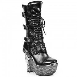 Black Nomada Leather New Rock Panzer Platform Boots