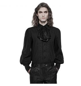 Black 'Lovecraft' Ruffled Shirt with Puff Sleeves
