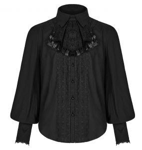 Chemise à Jabot 'Lovecraft' Noire avec Manches Bouffantes