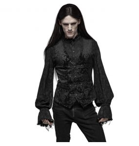 Gilet Victorien 'Damask Gothic' en Brocart Noir