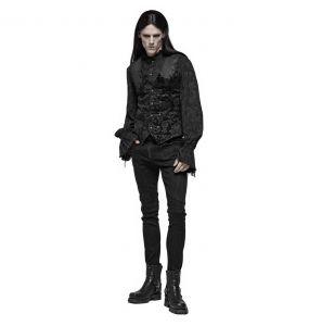Black Victorian 'Damask Gothic' Brocade Vest