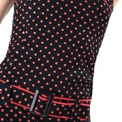 Mini Robe Bustier avec Ceinture Noire à Pois Rouges