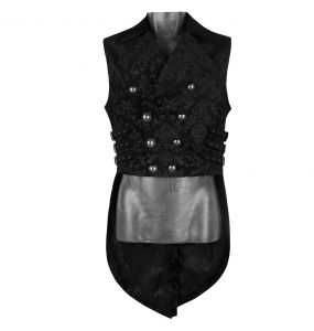 Black Victorian Gothic 'Lasombra' Swallow Tail Vest with Velvet Lapels and Collar.