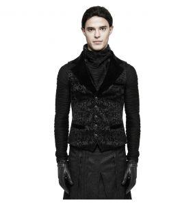 Black Victorian 'Gothic Regent' Brocade Waistcoat