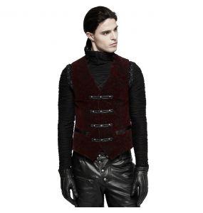 Dark Red Victorian 'Poison Ivy' Brocade Vest