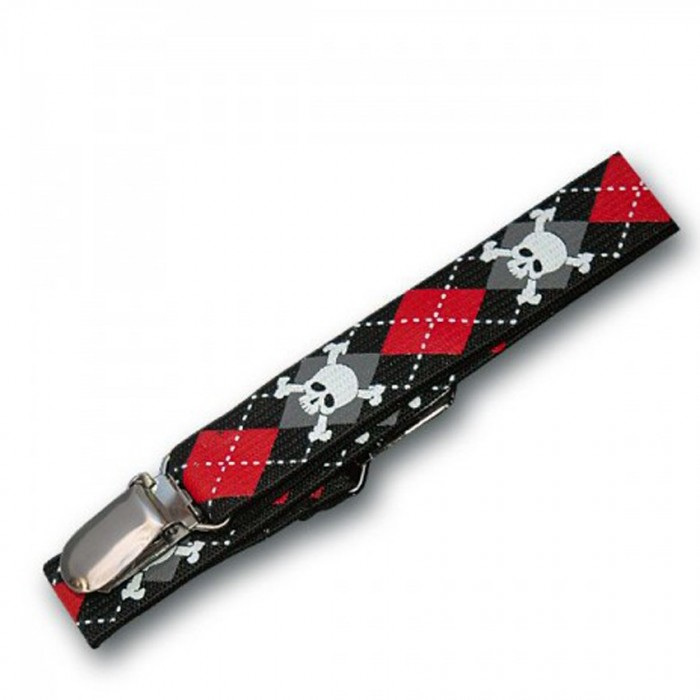 Red and Black Plaid Suspenders with Skulls