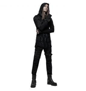 Black Hooded 'Destruction Unit' Long Sleeves Sweater