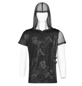 Black 'Ghost Bullet' T-Shirt with Mesh Hood