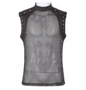T-Shirt sans Manches 'Burning Man' en Résille Marron